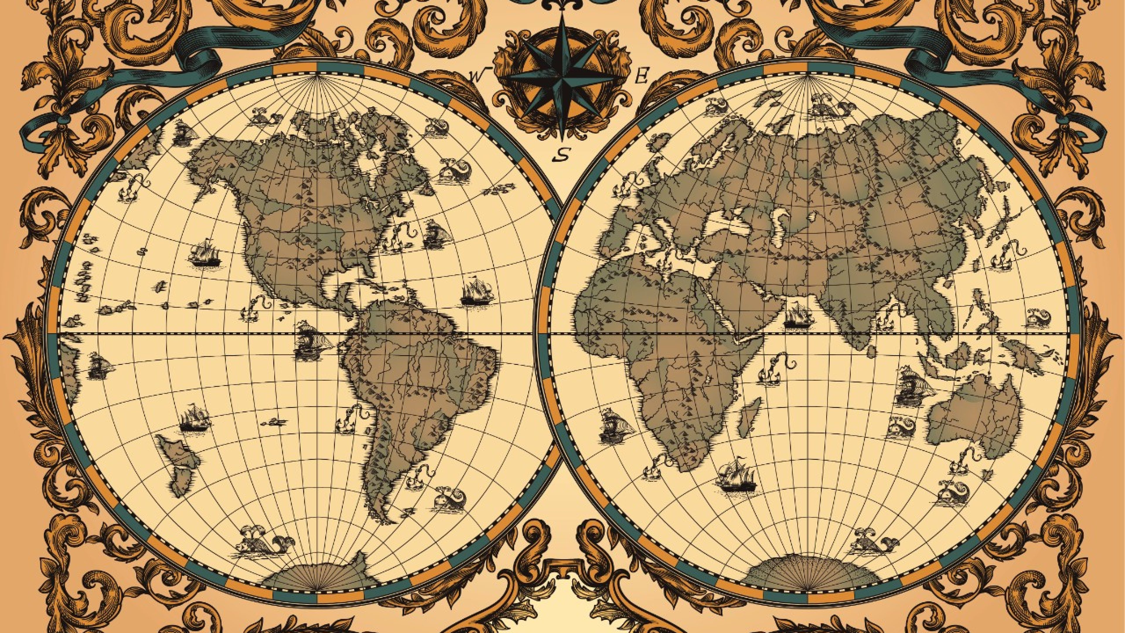 """Antique world map in vector, decorated with patterns and old nautical symbols."""