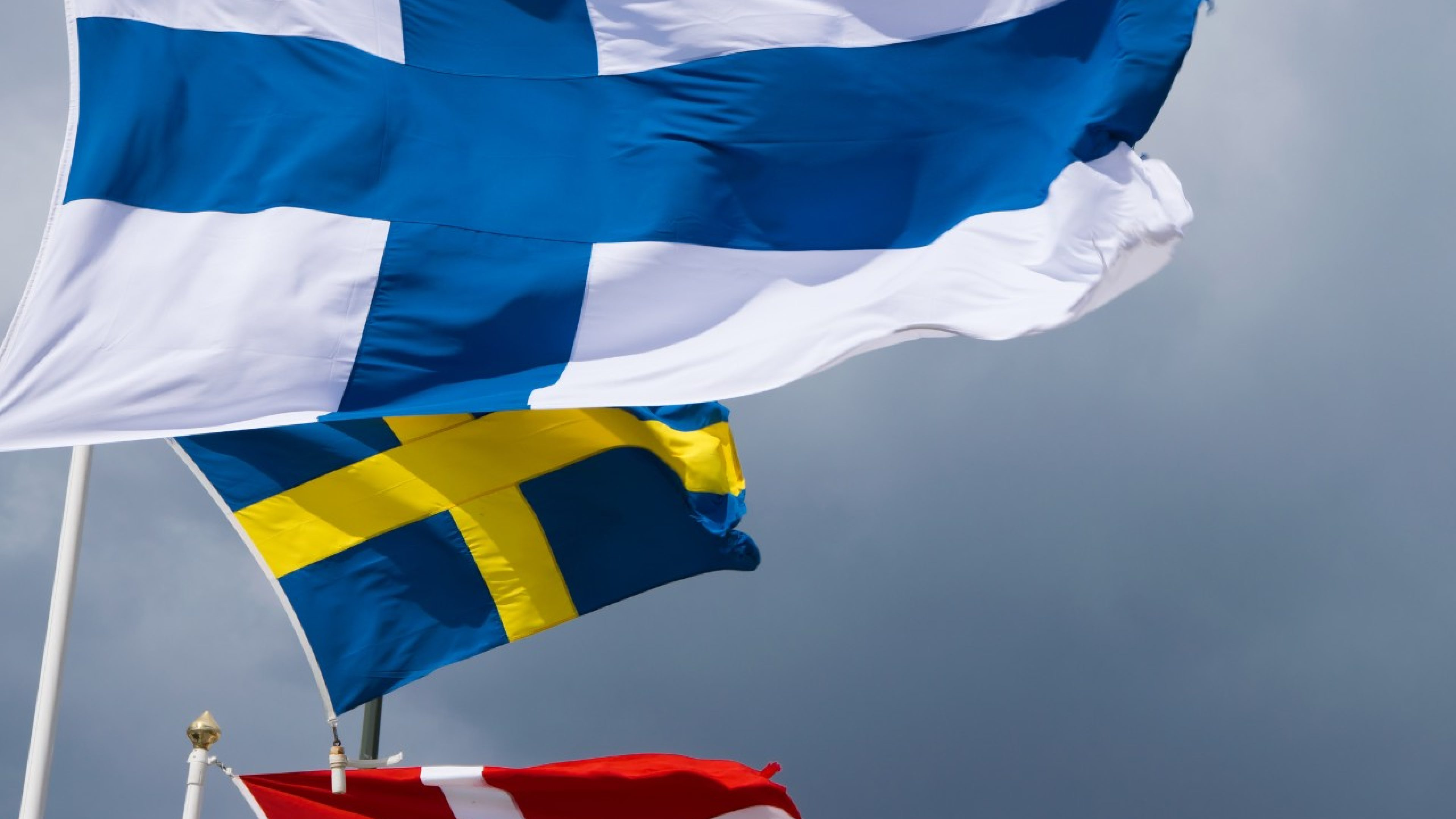 Finland, Sweden and Denmark flags. Malmö, Sweden
