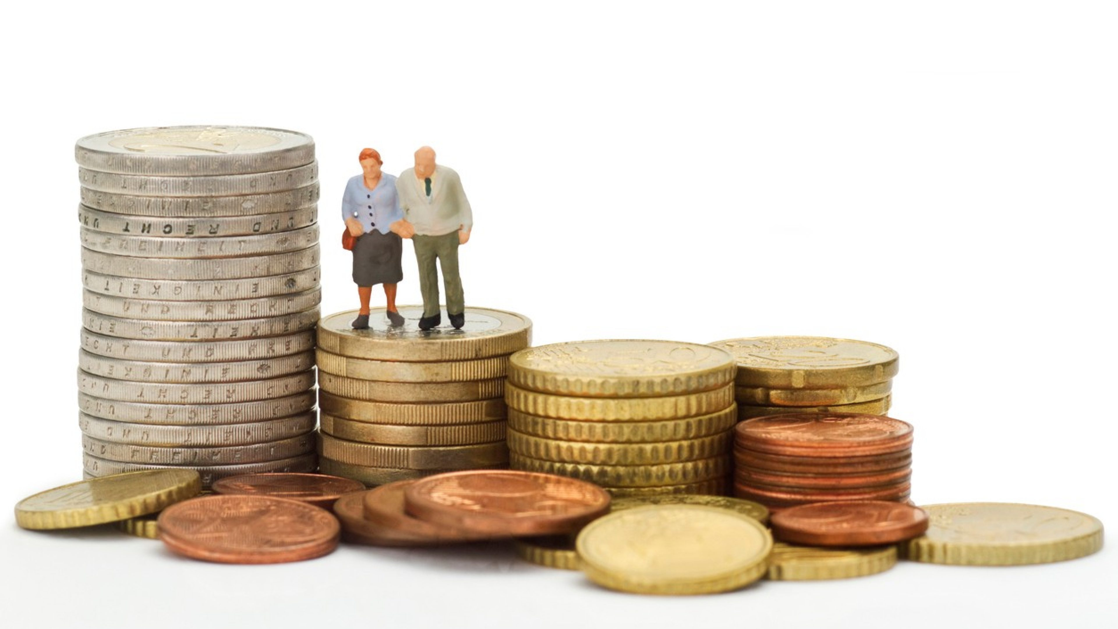 Seniors figurines with euro coins isolated on white background