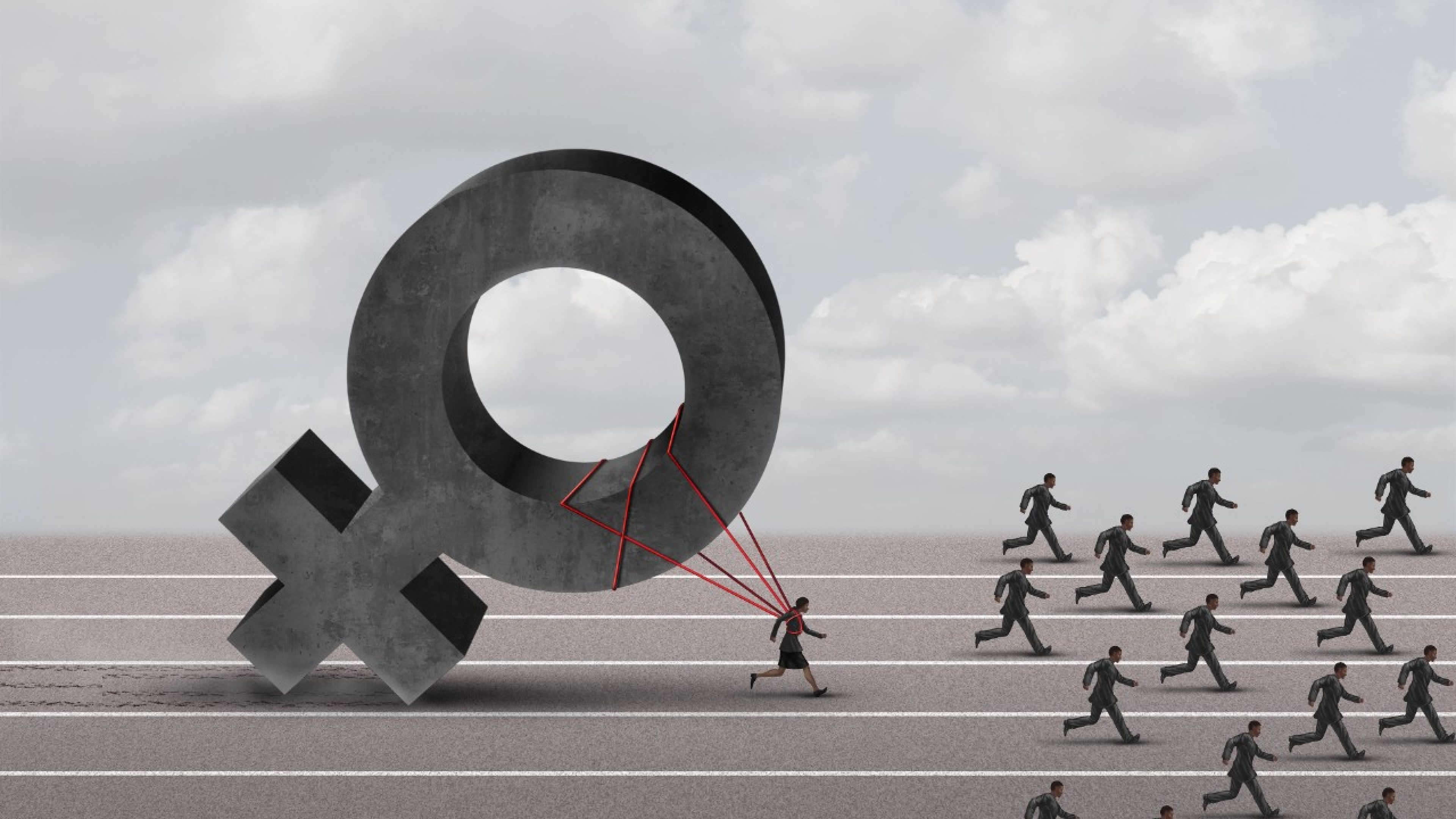 Sexism descrimination concept as a struggling woman with the burden of pulling a heavy female 3D illustration symbol falling behind a group of running businessmen or men as an unfair gender bias icon.