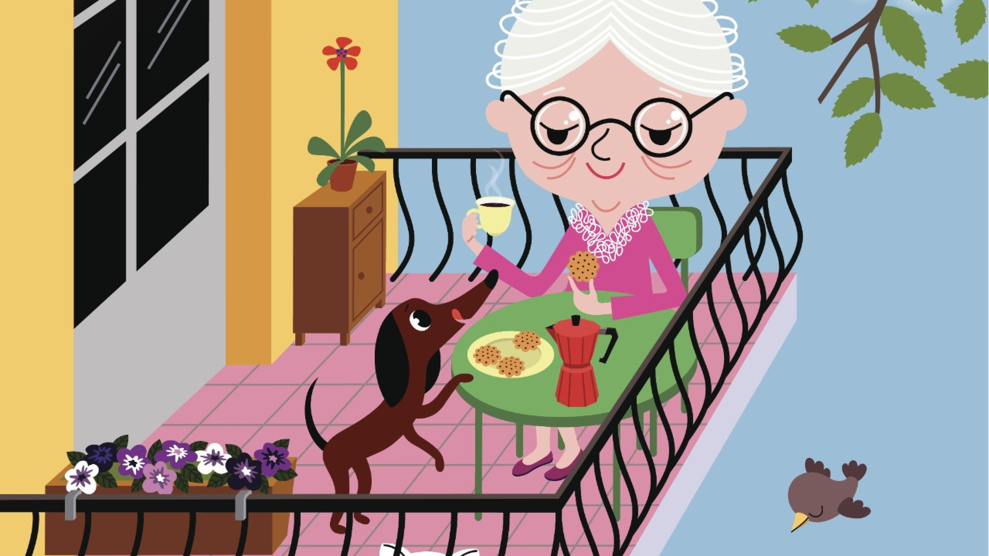 Little Old Lady with her Pets enjoying Summer on the Balcony.
